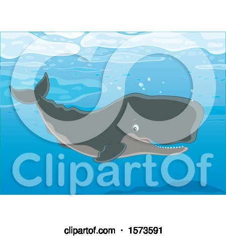 Clipart of a Happy Swimming Cachalot Sperm Whale - Royalty Free Vector Illustration by Alex Bannykh