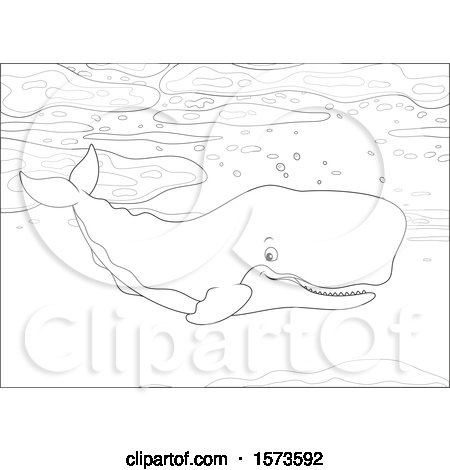 Clipart of a Lineart Swimming Cachalot Sperm Whale - Royalty Free Vector Illustration by Alex Bannykh