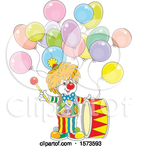Clipart of a Cute Clown with a Drum and Party Balloons - Royalty Free Vector Illustration by Alex Bannykh