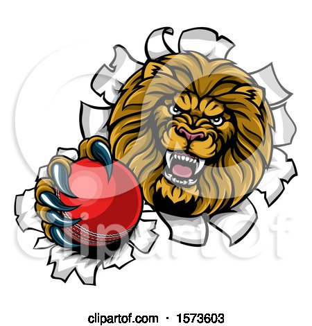 Clipart of a Tough Lion Sports Mascot Holding out a Cricket Ball and Breaking Through a Wall - Royalty Free Vector Illustration by AtStockIllustration