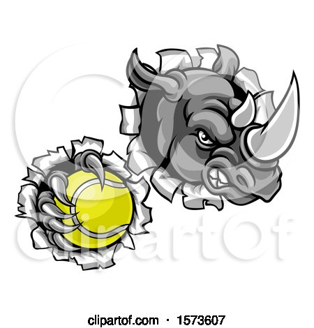 Clipart of a Tough Rhino Monster Mascot Holding a Tennis Ball in One Clawed Paw and Breaking Through a Wall - Royalty Free Vector Illustration by AtStockIllustration