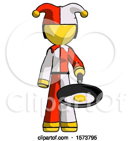 Yellow Jester Joker Man Frying Egg in Pan or Wok by Leo Blanchette