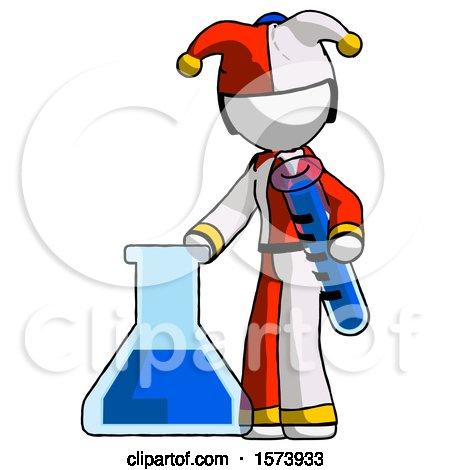 White Jester Joker Man Holding Test Tube Beside Beaker or Flask by Leo Blanchette