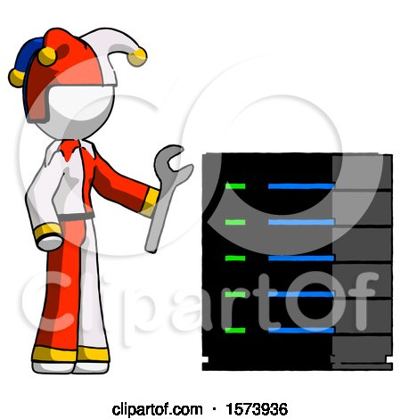 White Jester Joker Man Server Administrator Doing Repairs by Leo Blanchette