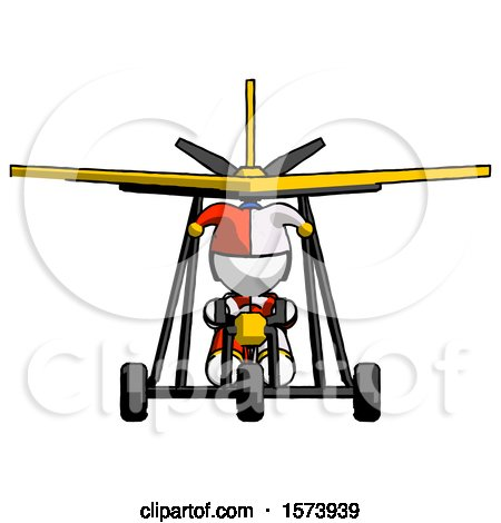 White Jester Joker Man in Ultralight Aircraft Front View by Leo Blanchette