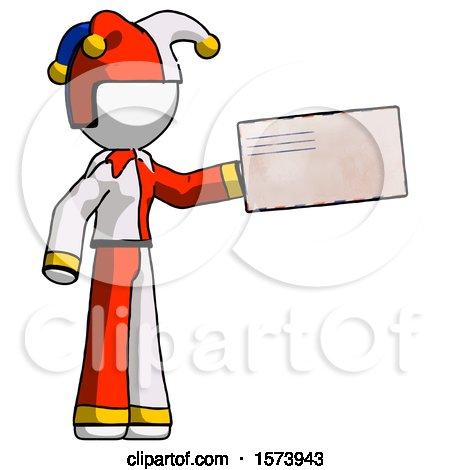 White Jester Joker Man Holding Large Envelope by Leo Blanchette