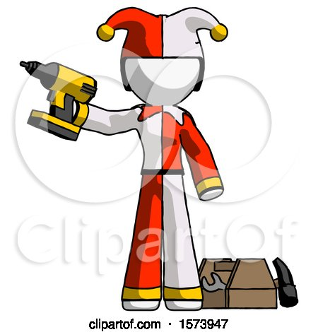White Jester Joker Man Holding Drill Ready to Work, Toolchest and Tools to Right by Leo Blanchette