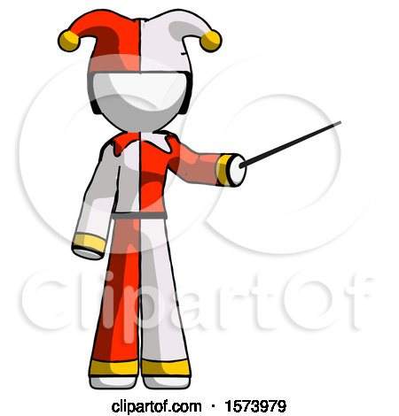 White Jester Joker Man Teacher or Conductor with Stick or Baton Directing by Leo Blanchette