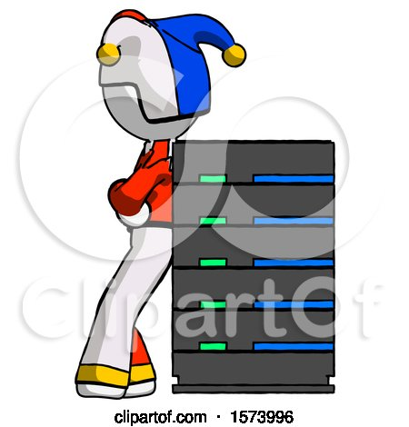 White Jester Joker Man Resting Against Server Rack by Leo Blanchette