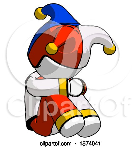 White Jester Joker Man Sitting with Head down Facing Angle Right by Leo Blanchette