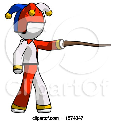 White Jester Joker Man Pointing with Hiking Stick by Leo Blanchette