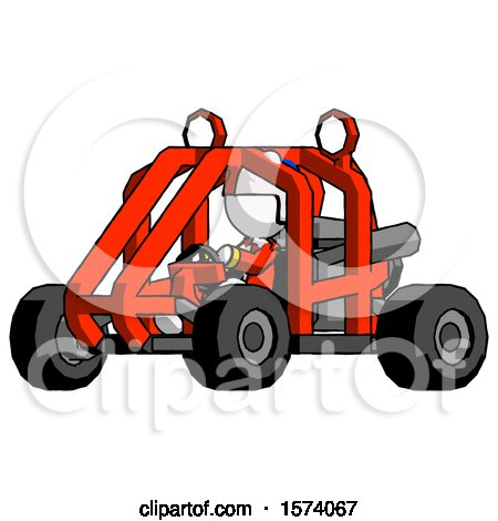 White Jester Joker Man Riding Sports Buggy Side Angle View by Leo Blanchette