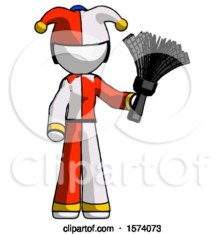 White Jester Joker Man Holding Feather Duster Facing Forward by Leo Blanchette
