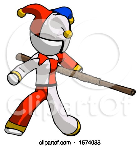 White Jester Joker Man Bo Staff Action Hero Kung Fu Pose by Leo Blanchette