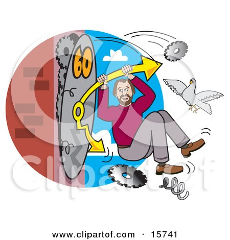 Man Hanging Onto The Arm Of A Breaking Clock, Trying To Speed Up Time Clipart Illustration by Andy Nortnik