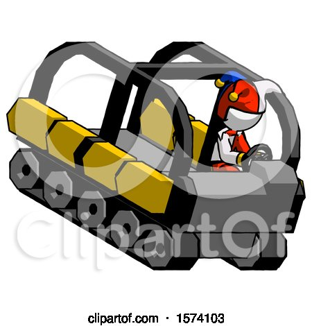 White Jester Joker Man Driving Amphibious Tracked Vehicle Top Angle View by Leo Blanchette