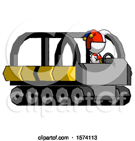White Jester Joker Man Driving Amphibious Tracked Vehicle Side Angle View by Leo Blanchette