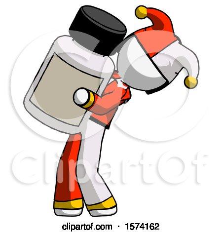 White Jester Joker Man Holding Large White Medicine Bottle by Leo Blanchette