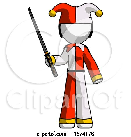 White Jester Joker Man Standing up with Ninja Sword Katana by Leo Blanchette