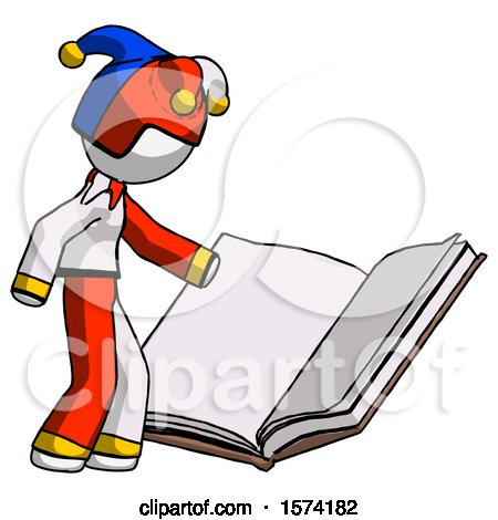 White Jester Joker Man Reading Big Book While Standing Beside It by Leo Blanchette