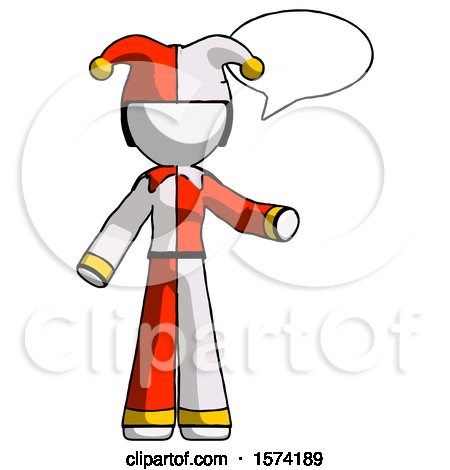 White Jester Joker Man with Word Bubble Talking Chat Icon by Leo Blanchette