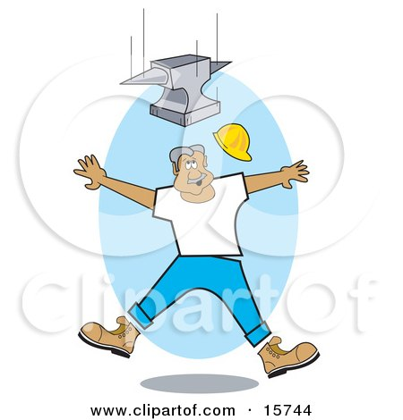 Construction Worker Jumping Back To Avoid Being Hit By A Falling Anvil Clipart Illustration by Andy Nortnik