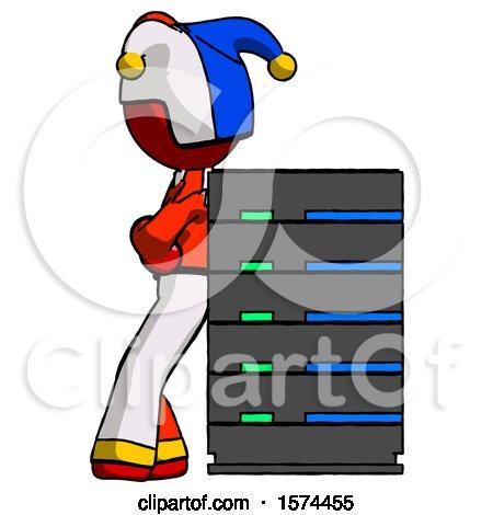 Red Jester Joker Man Resting Against Server Rack by Leo Blanchette