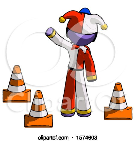 Purple Jester Joker Man Standing by Traffic Cones Waving by Leo Blanchette