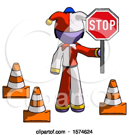 Purple Jester Joker Man Holding Stop Sign by Traffic Cones Under Construction Concept by Leo Blanchette