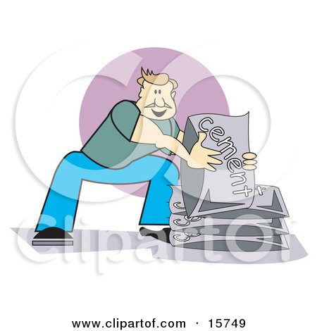 Strong Man Using His Knees And Lifting Bags Of Cement Clipart Illustration by Andy Nortnik