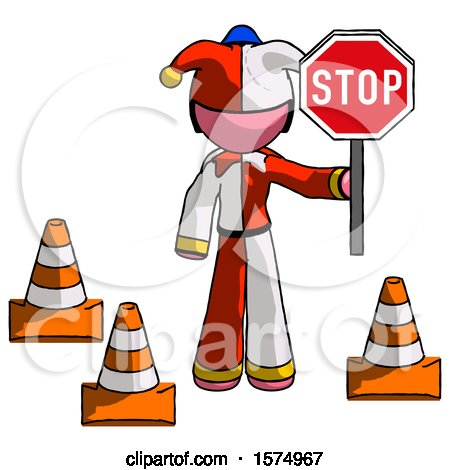 Pink Jester Joker Man Holding Stop Sign by Traffic Cones Under Construction Concept by Leo Blanchette