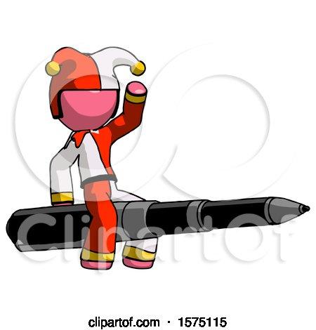 Pink Jester Joker Man Riding a Pen like a Giant Rocket by Leo Blanchette