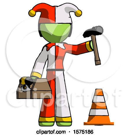 Green Jester Joker Man Under Construction Concept, Traffic Cone and Tools by Leo Blanchette