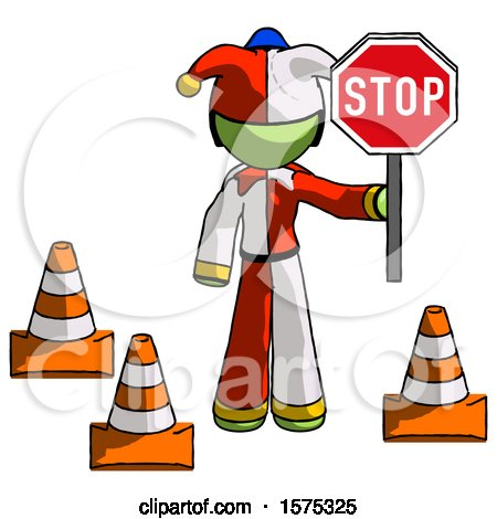 Green Jester Joker Man Holding Stop Sign by Traffic Cones Under Construction Concept by Leo Blanchette