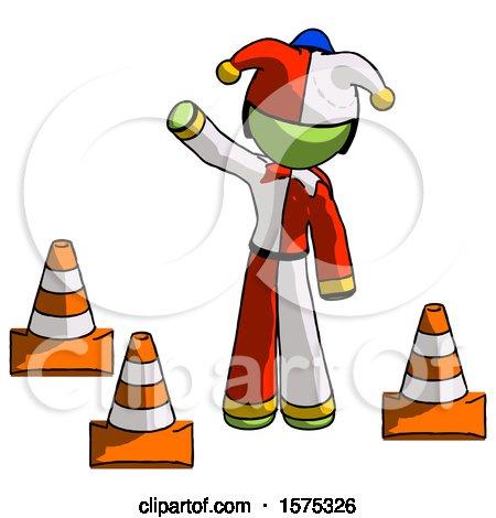 Green Jester Joker Man Standing by Traffic Cones Waving by Leo Blanchette