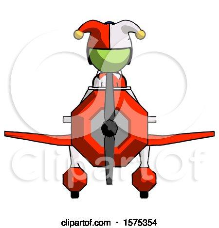 Green Jester Joker Man in Geebee Stunt Plane Front View by Leo Blanchette