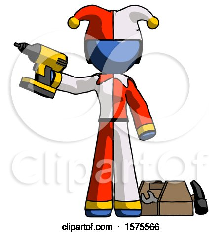 Blue Jester Joker Man Holding Drill Ready to Work, Toolchest and Tools to Right by Leo Blanchette