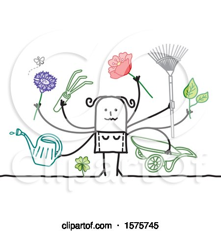 Clipart of a Stick Woman with Gardening Tools and Flowers - Royalty Free Vector Illustration by NL shop