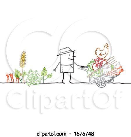 Clipart of a Stick Man Farmer with a Wheelbarrow and Tools - Royalty Free Vector Illustration by NL shop