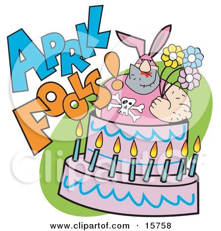 Tough Man In A Bunny Suit Holding Flowers And Popping Out Of An April Fools Cake Clipart Illustration by Andy Nortnik