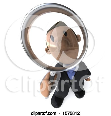 Clipart of a 3d Indian Business Man Looking up Through a Magnifying Glass, on a White Background - Royalty Free Illustration by Julos