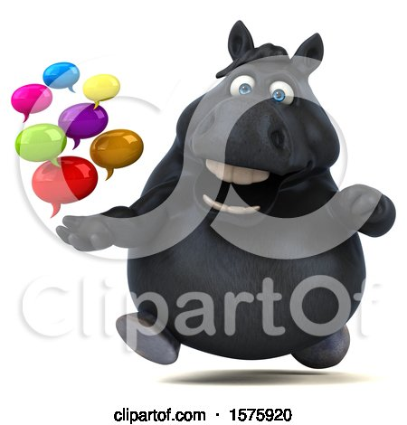 Clipart of a 3d Chubby Black Horse Holding Mesages, on a White Background - Royalty Free Illustration by Julos