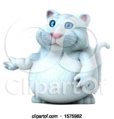 Clipart of a 3d White Kitty Cat Presenting, on a White Background - Royalty Free Illustration by Julos