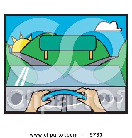 Woman's Hands On The Steering Wheel Of A Car Facing A Blank Sign And A Fork In The Road Posters, Art Prints
