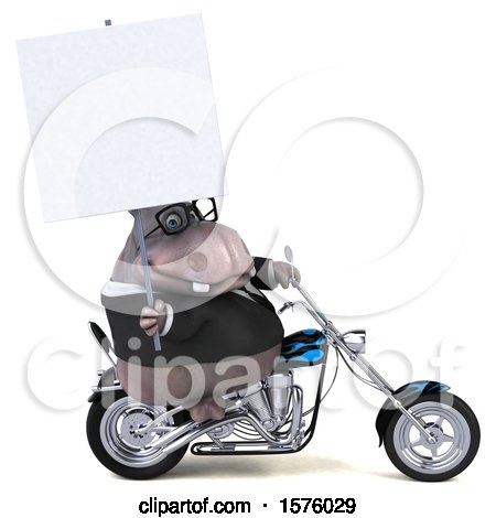 Clipart of a 3d Business Hippo Biker Riding a Chopper Motorcycle, on a White Background - Royalty Free Illustration by Julos