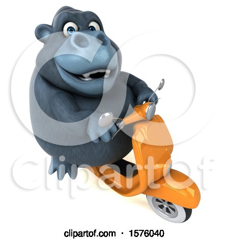 Clipart of a 3d Gorilla Mascot Riding a Scooter, on a White Background - Royalty Free Illustration by Julos