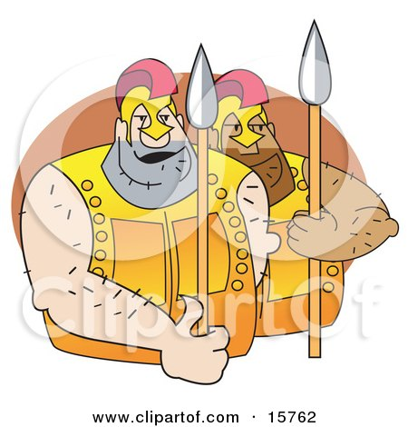 Couple Of Huge Male Gladiators With Spears Posters, Art Prints