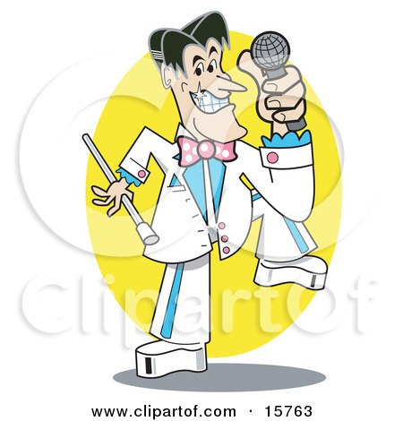 Handsome Male Game Show Host With Black Hair And Pearly White Teeth, Wearing A White And Blue Suit And Holding A Microphone Clipart Illustration by Andy Nortnik