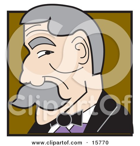 Gray Haired Man With A Mustache In Profile Clipart Illustration by Andy Nortnik