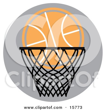 clipart basketball goal. Royalty-free sports clipart picture of a basketball in a hoop,